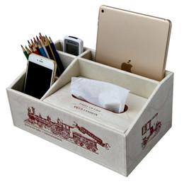 Wholesale Tissue Box Holder Organizer - Wholesale- Fashion Desktop Decor Accessories Organizer Holder Leather Wooden Tissue Box New