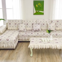 Wholesale Anti Slip Sofa - Unique Anti-skid Non-Slip White Flower Sofa Pillow Couch Cushion Sofa Cover Slipcovers Pastoral Style Furniture Protector Mat Carpet Blanket