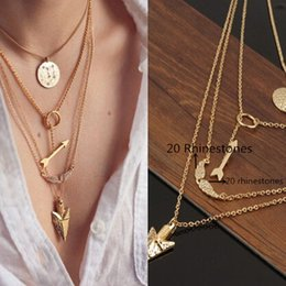 Wholesale Circular Wings - Wholesale-2016 Women Cheap Jewelry New Initial lariat Necklace Gold Multi Layer Necklace Sexy Circular Arrow Angel Wing Pendant Necklace