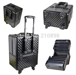 Wholesale Trolley Case Cosmetics - Wholesale- Aluminum Trolley Cosmetic Box cosmetic case with tray big space to hold cosmetics