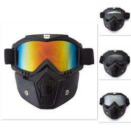 Wholesale Air Paintball - Motorcycle Helmet Face Masks Riding Goggles Glasses Removable Helmet Masks Air-soft Glass Fits for Powers-ports Paintball