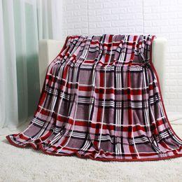 Wholesale Stripe Coral Fleece Blanket - Single Layer Stripe Plaid Big Flannel Fleece Blanket 200x220cm Beddging Sheet Sofa Blanket Throws for Autumn Spring Winter