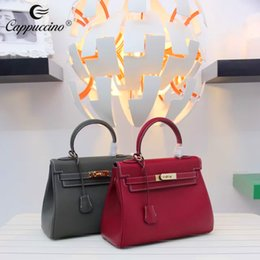 Wholesale Dropship Lady Bags - 2017 Cappuccino Hot Sale Vintage Tote Bag European and American Fashion Style Dropship Genuine Leather Handbag Decent Ladies Shoulder Bolsas