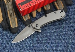 Wholesale Kershaw Survival Knives - 3 models Kershaw 1555TI 1555 flipper knife 8CR13Mov Very smooth Camping Survival Folding Knife Gift Knife Outdoor Tools OEM 1pcs