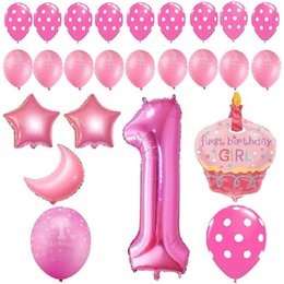 Wholesale Banner Settings - 1st Birthday Girl Balloons Set. happy birthday decoration banner- Perfect for Your Daughter's First Birthday Party