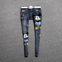 Al por mayor-Nuevo Estilo Europa Mostrar Estilo Venta caliente Mujeres Painted Jeans Street Hole Ripped Denim Pantalones Pantalones Retro Femeninos C016 desde fabricantes