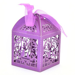 Wholesale Love Birds Wedding Candy Box - Wholesale- 50pcs pack Cartoon Bird Love Heart Laser Cut Gift Candy Boxes Wedding Party Favor With Ribbon