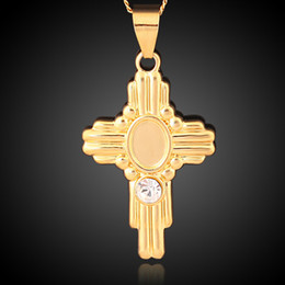 Wholesale Crystal Cross Costume Necklace - Retro Vintage Yellow Gold Color Crystal Paved Cross Crucifix Chain Pendant Necklace Fashion Party Costume Jewelry for Women