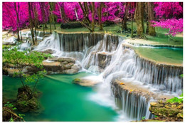 Wholesale Chinese Photography Background - High end Custom 3d photo wallpaper murals wall paper Waterfall forest photography 3D living room wallpaper background wall home decor