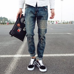 Wholesale Stylish Casual Pants - Wholesale- Summer new fashion trend male retro printing mid waist loose casual denim pants stylish scratched skull hip hop jeans men
