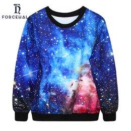 Wholesale Galaxy Crewneck Sweatshirts Men - Wholesale-2016 Brand New Sweatshirts For Men Women 3D Galaxy Space Crewneck Casual Hoodies Loose Tracksuit Multi-Color