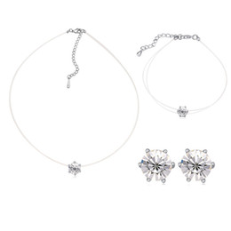 Wholesale Thin Chain Bracelets For Women - No allergic thin transparent chain necklace and earrings&bracelet set with CZ crystal for women gift in 2017