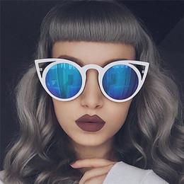 Wholesale Round Cateye Sunglasses - New Cat Eye Sunglasses Women Brand Designer Fashion Vintage Mirror Sunglasses Hot Cateye Sun Glasses For Female UV400 FDY170727