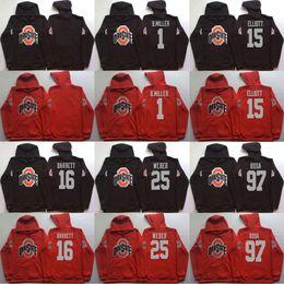 Wholesale Football Winter Jackets - Men hoodies Ohio State Buckeyes 1 B.Miller 15 Elliott 16 Barrett 97 Bosa red black pullover sweatshirt college football stitched Jacket