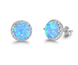 Wholesale S925 Pure Silver - 2018 S925 pure silver Nice handmade Blue opal earrings trendy simple wholesaling Mosaic piercing earring for Women Jewelry 5 Pairs 41