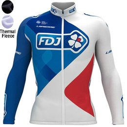 Wholesale Team Fdj - 2018 FDJ Pro team Winter Fleece Cycling Windproof Windjacket Thermal mtb Biking Coat mens warm up jacket