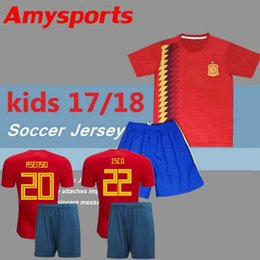 Wholesale Youth Football Jersey Black - 2018 Kids Spain Jersey boy youth Spain kits RAMOS ISCO PIQUE SERGIO INIESTA ASENSIO THIAGO MORATA home soccer shirt Football set