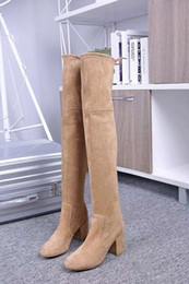Wholesale Slim Leather Boots - 2017 Women's Long Boots Sexy Lady Stretch Boots Fashion Slim Fit Suede Over Knee High Luxury Brand Comfortable Boots Size 34-40