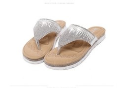 Wholesale Vacation Sandals - Steps-In Gold Low Wedges Rhinestone Women Sandals 2017 Sexy Lady Summer Seaside Vacation 2017 new Fashion Shoes