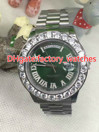 Wholesale Mens Automatic Watch Diamond Sapphire - 43mm big diamonds silver shell waterproof automatic watches mens luxury brand green face aaa top quality sapphire glass wristwa