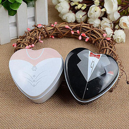 Wholesale Bride Wedding Tin Box - Bride Groom Mint Tin Box Wedding Favor Boxes Dressed To The Nines Casamento Candy Box Chocolate Sugar Packing