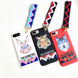 Wholesale Rubber Lanyard - For iPhone 8 7 Plus Soft Rubber Rivet Wrist Strap Case Cute Rabbit Lanyard Phone Cover for iPhone7 7Plus