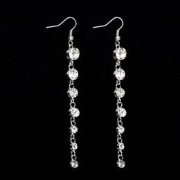 Wholesale Stars Drop Earring - Star style rhinestone tassel long drop earrings clip-on no pierced women gift earrings free shipping #E086