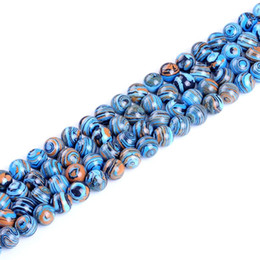 "malachite jewelry Promo Codes - Top quality Natural blue malachite stone round loose ball Beads 15"" Strand 4 6 8 10 12 14MM For DIY Jewelry Making bracelet"