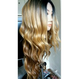Wholesale Two Tone Blonde Hairstyles - New Pre Plucked Honey Blonde Full Lace Wig Dark Root Virgin Brazilian Body Wave Lace Front Wig Two Tone Ombre Human Hair Wigs