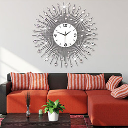 Wholesale House Digital - Modern Style Metal Wall Clock Luxury Mute with Iron Contemporary Houses Wall Clocks Fashion Creative Diamond Iron Wall Clock
