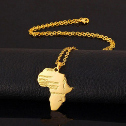 Wholesale Wholesale Hip Hop Jewelry - Fashion Jewelry African Map Hip Hop Gold and Silver Plated Pendants Choker Necklaces Gold Chain Bijoux For Men And Women