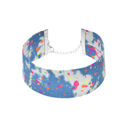 Wholesale Fashion Watercolor - 2017 New Fashion Denim Choker Necklace Watercolor Graffiti Collar Necklace Hip-hop Torques High Quality Free Shipping
