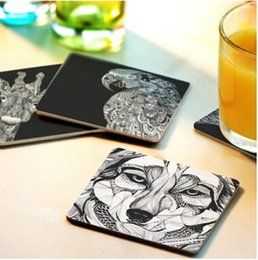 Wholesale Cushion Wood - Wholesale-Free shipping Creative wood Coasters Cup Cushion Holder Non-slip heat proof coffee Coasters Cup Mat DIY hand painted,4pcs lot
