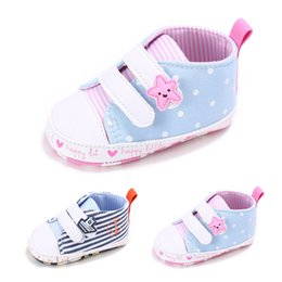 Wholesale Hook Loop Dots - Newborns fabric Moccasins Baby Dots Striped soft sole Sneakers Star Ship Deco Infants first walking shoes boys girls prewalker 3sizes