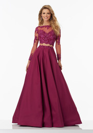 Wholesale Sexy Silk Wear - New Two Pieces Burgundy Lace Evening Dresses With Beads Long Sleeve A-Line Prom Party Gowns Evening Wear Appliques Illusion Back Custom Made