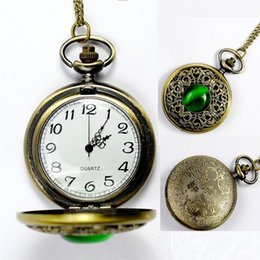 Wholesale Antique Ladies Pocket Watch Chain - Creative hollow pocket watches Green Gemstone Necklace Retro bronze chain watch Vintage Ladies women gifts jewelry watches wholesale