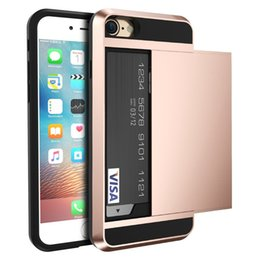 Wholesale Iphone 5s Apple Case New - New Hybrid Tough Case For Apple iphone 5 5S SE  6 S 6S 7 Plus iphone 8 Slider Card Holder Wallet