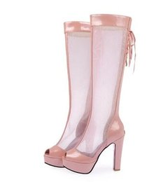 Wholesale Hot Pink Platform Sandals - New Arrival Hot Sale Princess Summer Noble Nightclub Peep Toe Catwalk Show Mesh Martin Club Cool Platform Thicken Heels Sandals EU34-43
