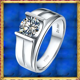 Wholesale 18k Solid Gold Diamond Sets - 2017 Hot ForeverBeauty Trend Men 1CT Diamond Simple Design Ring With Solid 925 Sterling Silver Plated Platinum Man Engagement Rings