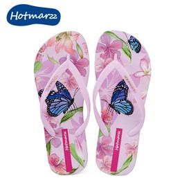 Wholesale Flooring Patterns - Hotmarzz summer 3D flower pattern female flip flops flat bottom non slip female cool beach shoes