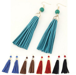 Wholesale Red Beaded Earrings - New Boho Designs Long Tassel Earrings Women Fashion Leather Tassels Dangle Earrings With Beaded Drop Earring JL