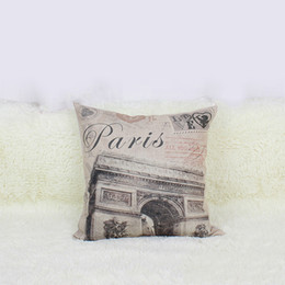 Wholesale Vintage Paris Prints - Wholesale- Fashion PARIS Cotton Linen Square Vintage Throw Pillow Case Shell Cover Hot Sale