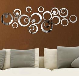 2020 calcomanías circulares DIY 3D espejo acrílico pegatinas de pared círculo creativo anillo decoración del hogar para la decoración de la familia Mordern Adesivo De Parede Home Decal calcomanías circulares baratos