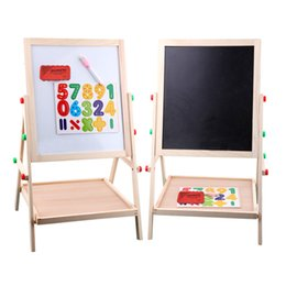 Wholesale Double Sided Blackboard - Wholesale- 65cm Child double side Wooden Magnetic Blackboard Whiteboard Kids big Writing and Drawing Board toys with Eraser Chalk Marker