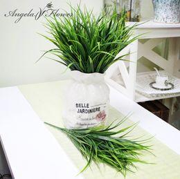 all'ingrosso per piante artificiali Sconti All'ingrosso- Decorativo Green Plant Bluegrass Bonsai / Miniascape / Potted arrangiamento accessori simulazione pianta fiori artificiali