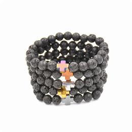 Wholesale Hematite Cross Bracelet - New Natural Black Lava Stone Beads Bracelet Fashion Men Hematite Beaded Cross Charm Bracelets Yoga Jewelry