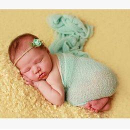 Wholesale Padded Plain - Top Quality Newborn Wrap Baby Photography Props Blanket Rayon Stretch Knit Wrap Newborn Photo Swaddling Pad