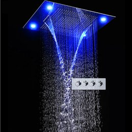 """Wholesale Large Waterfall Shower Heads - 31"""" Large Rain Shower Set Waterfall LED Recessed Ceiling-mount 4 Function Shower Head,Remote Control,Classic Design 600x800mm"""