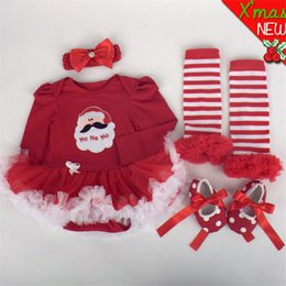 Wholesale Tutu Dress Colours - Newborn Baby Clothes Christmas Infant Jumpsuit Clothes 4pcs Set Baby Girls Clothing Xmas Baby Suits Toddler Romper Tutu Dress