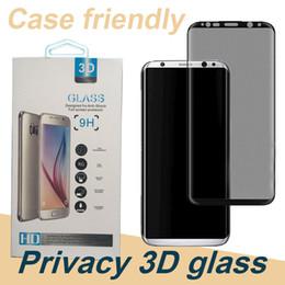 3d bildschirmschutz schutzfolie Rabatt Für Samsung S8 Privatsphäre Gehärtetem Glas Displayschutzfolie Klar Film Schutz 3D Schild Anti-Spy Fall Freundliche Privacy Protector SSC041